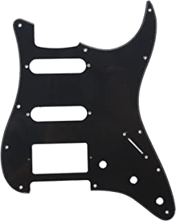 Musiclily HSS 11 Hole Strat Electric Guitar Pickguard for Fender USA/Mexican Made Standard Stratocaster Modern Style Guitar Parts,1Ply Black