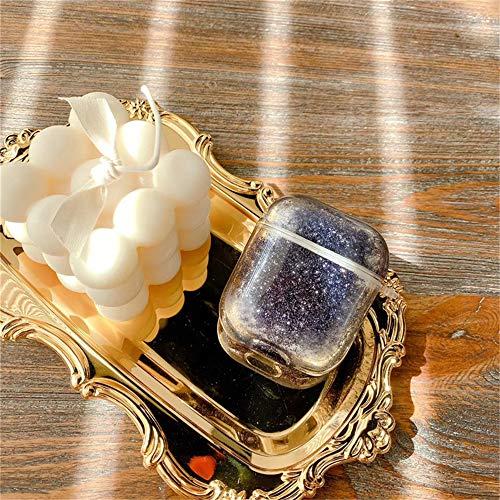 Ysimee AirPods 1/2 Glitzer Hülle, Bunt Flüssig Treibsand Glitter Hart Case Hülle kompatibel mit Apple AirPods 1/2 – 360 Grad Voller Schutzhülle [Unterstützt Kabelloses Laden] (ohne Karabiner, Grau)