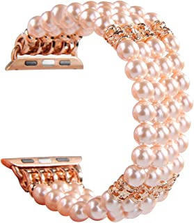 GEMEK Compatible with Apple Watch Band 38mm 40mm Women iWatch Bands Series 5/4/3/2/1, Handmade Beaded Elastic Stretch Pearl Bracelet Replacement Strap for Girls Wristband (Pink)