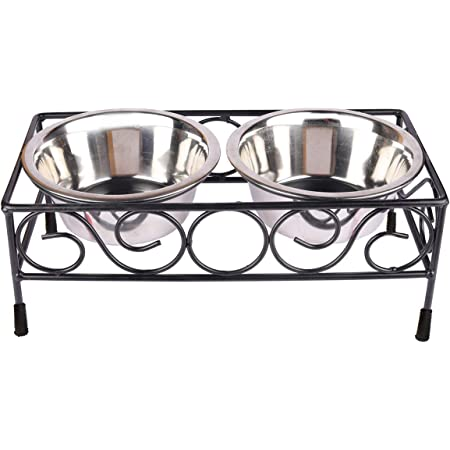 Naaz Pet Supplies Wrought Iron Dog Bowl Stand Collection Rustic Square Elevated Shape Diner with Large Size Stainless Steel Food and Water Bowls Pet Feeder (Black, 1600 ml X 2 Bowl)