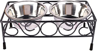 Naaz Pet Supplies Wrought Iron Dog Bowl Stand Collection Rustic Square Elevated Shape Diner with Large Size Stainless Stee...