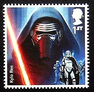 Kylo Ren Star Wars UK -Handmade Framed Postage Stamp Art 0260