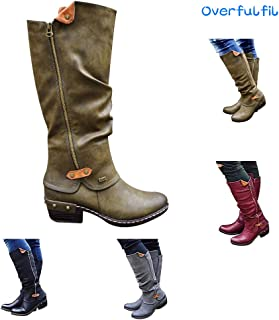 Overfulfil 2019 New Leather Knee Boots for Women - Women Stylish Western Style Cowboy Knee Boots Punk Boots Casual Knee Middle Tube Boots Green Green US8(39)