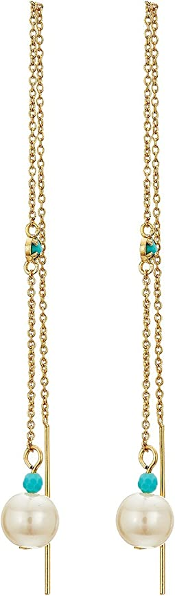 LAUREN Ralph Lauren - Pearl & Turquoise Bead Threader Earrings