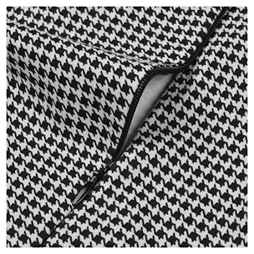 Miusol Damen 3/4 Arm Schoesschen?Cocktailkleid Hahnentrittmuster 1950er Jahre Business Stretch Kleid Grau Gr.L - 3