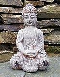 Bouddha assis en céramique effet Drift en bois jardin extérieur...