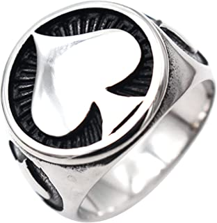 JAJAFOOK Stainless Steel Ace of Spades Ring Poker High Polished Men Ring Size 12