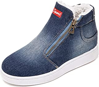 XIANV Warm Winter Boots Women Denim Jeans Boots Snow Classic High Top Round Toe Casual Shoes Sneakers