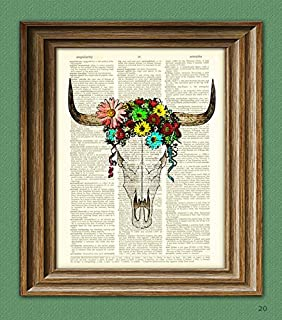 Cow Skull with flowers print over an upcycled dictionary page book art print