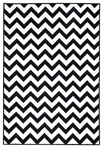 onloom Moderner Teppich in Schwarz-Weiß, Designerteppich in 3 Motiven. Flachwebteppich, geometrische Muster, Größe:100 x 150 cm, Farbe:ZIck-Zack