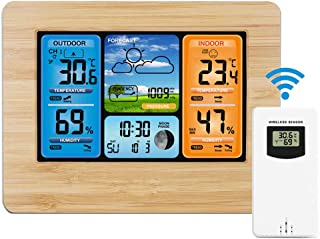 Powcan Estación meteorológica inalámbrica Pronóstico de Color Digital Estación meteorológica Termómetro con Alerta Humedad Barómetro Alarma Fase Lunar Reloj meteorológico con Sensor Exterior