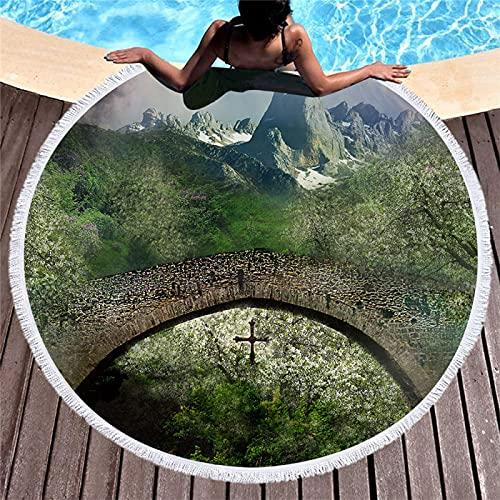 Toalla De Playa Redonda con Estampado Digital De Forest Pattern 3D, Toalla De Baño Absorbente De Microfibra, Estera De Playa De Secado Rápido 150 * 150cm