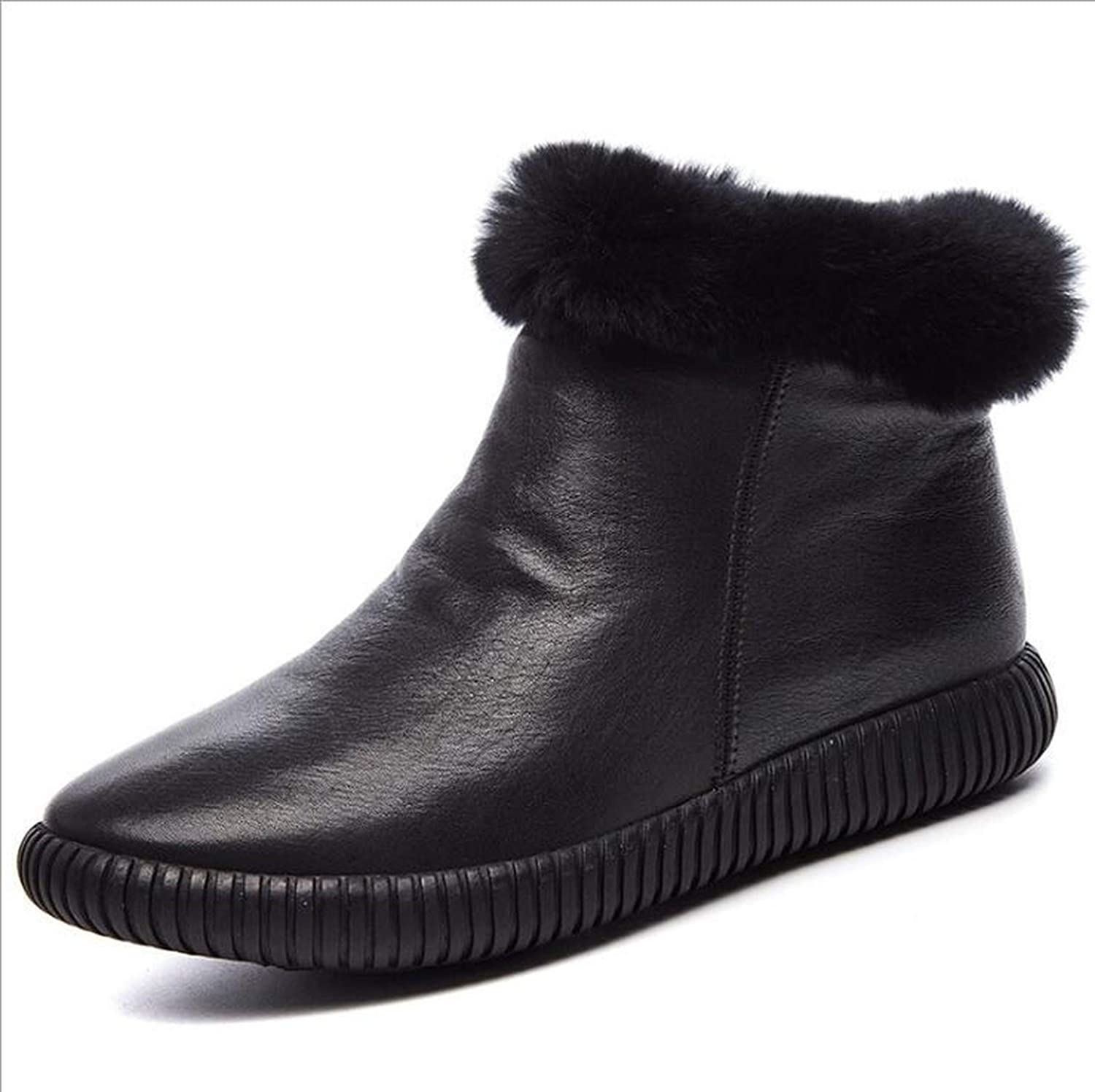 Leather Snow Boots Women's Boots Rabbit Hair Winter Boots for Women Warm shoes