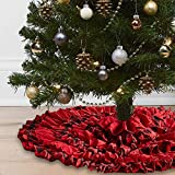 Lalent Christmas Tree Skirt, 48 Inches Red Black Buffalo Check and Burlap 6 Layers Ruffled Xmas Tree Skirt Gifts for Party Holiday Christmas Decorations (Red/Black)