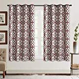 Curtains for Living Room, Geometric Pattern Room Darkening Blackout Curtains for Bedroom Thermal Insulated Drapes (Burgundy and Brown-52 by 63 Inch, 2 Panels)