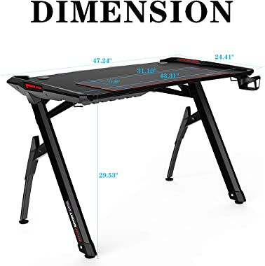 """AuAg 47"""" Gaming Style Desk Computer Home Office Desk Student Table PC Desk with Cup Holder & Headphone Hook Powerful"""