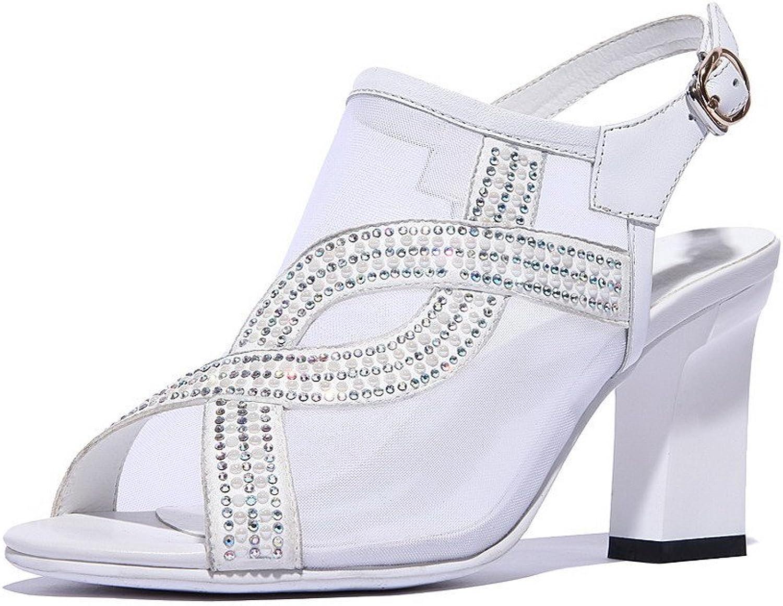 AmoonyFashion Women's Buckle High-Heels Leather Handmade Sandals with Studded Rhinestones