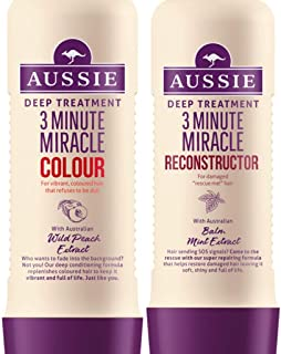 Aussie Deep Treatment 3 Minute Miracle COLOUR with Australian Wild Peach extract for vibrant hair and RECONSTRUCTOR with Australian Balm Mint extract, for damaged hair.