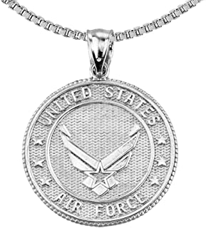 US Air Force Sterling Silver with Prayer Blessing Pendant Necklace