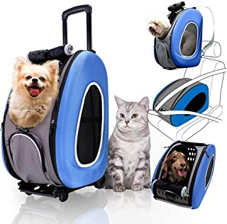 ibiyaya 4 in 1 Pet Carrier + Backpack + CarSeat + Carriers on Wheels for Dogs and Cats