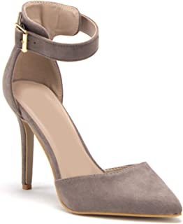 Jazame Women's Pointed Toe D'Orsay Ankle Strap High Heels Pumps Sandals Shoes, Taupe, 9