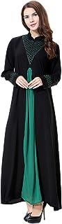 GladThink Womens Muslim Stand Collar Maxi Dress