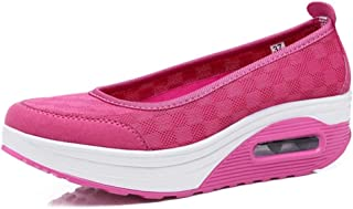 Women Summer Casual Shoes Thick Bottom Outdoor Breathable Leisure Platform Boat Shoes Female Lightweight Wedges Heel Muffins Shoes (Color : Red, Size : 3.5 UK)