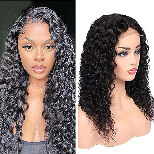 Water Wave Closure Wig Human Hair 16 inch Water Wave 4x4 Lace Front Wigs Brazilian Virgin Wet and Wavy Human Hair Wigs for Black Women Natural Color 16 Inch