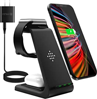 【2021年最新】ワイヤレス充電器 3 in 1 Qiスマホ機種全対応 急速充電器 QC3.0アダプター付属 TYPE-C Apple Watchスタンド Airpods充電器/Apple Watch充電器 iPhone 12 Pro Max/...