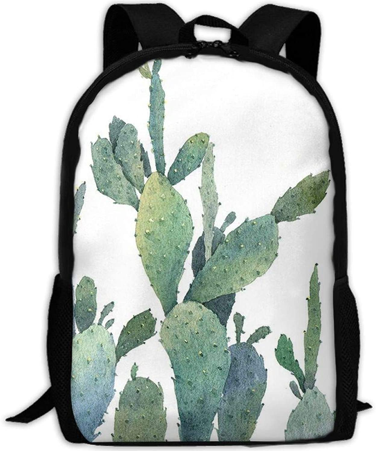 Adult Backpack Green Cactus College Daypack Oxford Bag Unisex Business Travel Sports Bag with Adjustable Strap