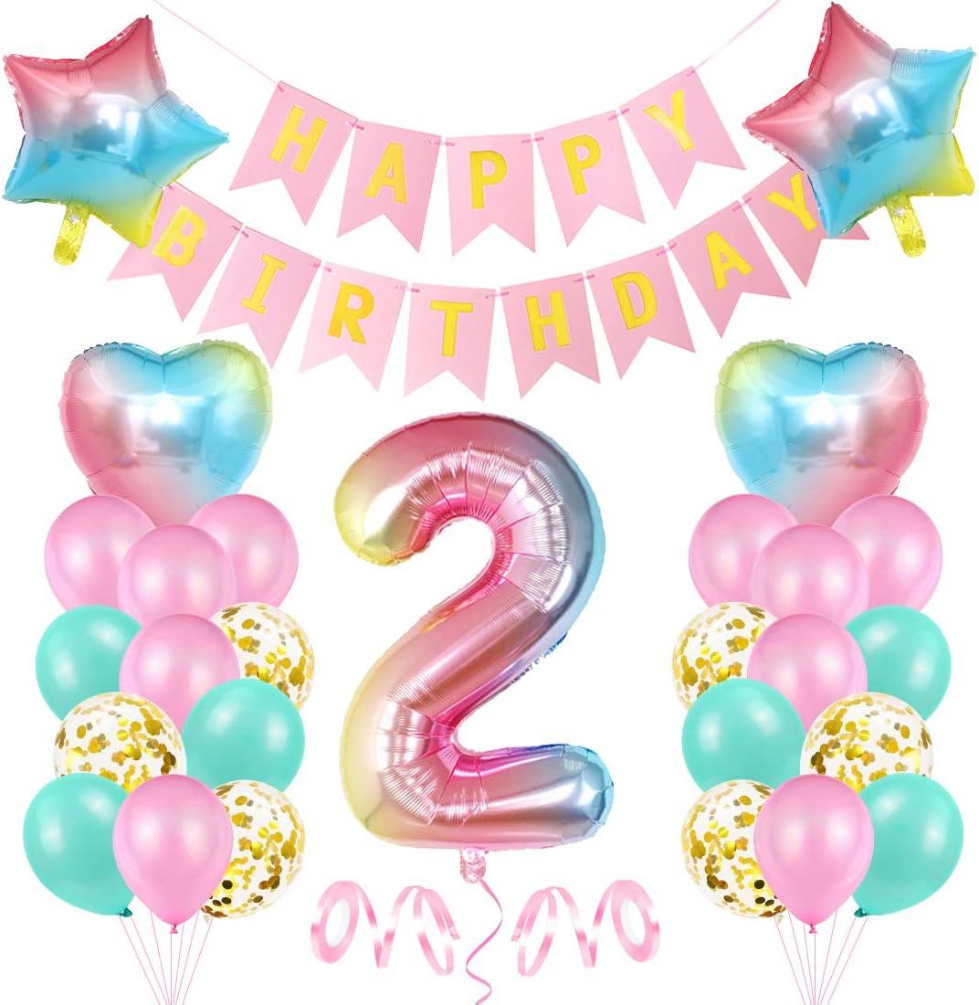 2er Cumpleaños Globos, Decoración de cumpleaños 2 Rosa, Feliz cumpleaños Decoración Globos 2 Años, Foil Globo Número 2 Rosa, Globos de Aluminio para Niñas, Globos Confeti Aluminio para Fiestas Niñas
