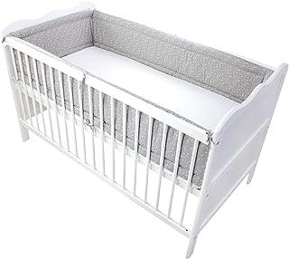 TupTam Baby Nestchen für Babybett Gemustert, Farbe: Sterne Grau 2, Größe: 420x30cm für Babybett 140x70