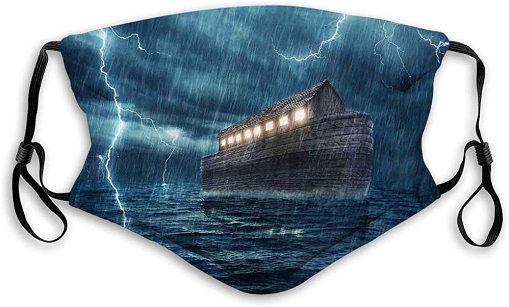 Old Nostalgic Wooden Boat Ship During a Rain and Lightning Dustproof Windproof Face Mask,Washable Cloth,Face Cover,Cover for Dust Teens