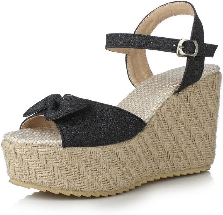 AllhqFashion Women's Solid PU Buckle High-Heels Open Toe Sandals