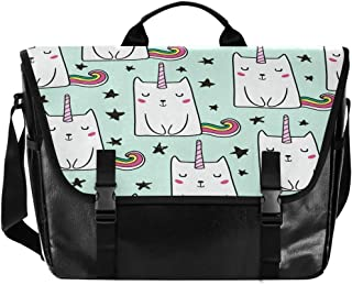 Bolsa de cartero de lona con diseño de gato arcoíris, unisex de 15,6 pulgadas, estilo retro, para negocios, bolso de hombr...