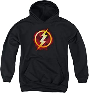 Justice League Flash Title Youth Pull Over Hoodie Black
