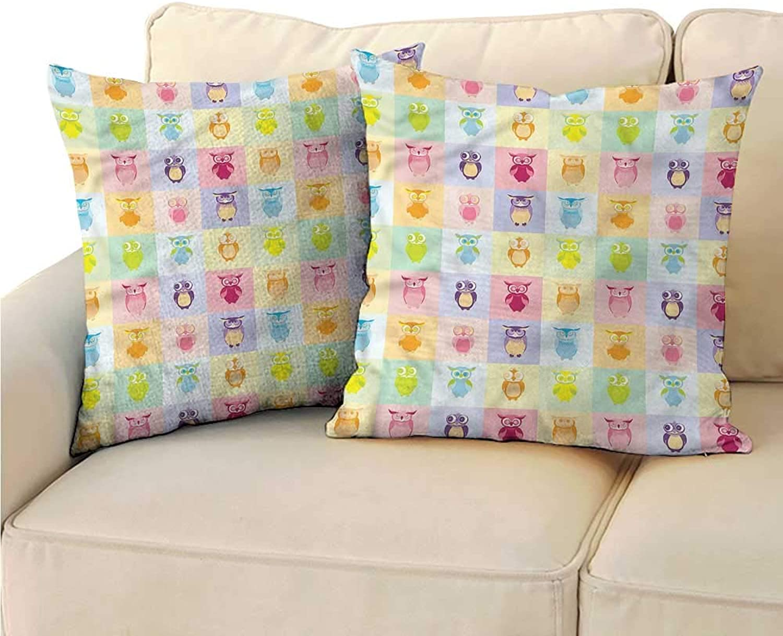 Godves Cushion Cases Pillowcases Kids colorful Cute Owl Kids Super Soft and Luxury, Hidden Zipper Design 20 x20  2 Pcs