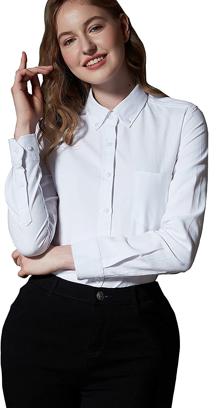 Button Up Shirt Women Long Sleeve Oxford Shirt Classic-Fit Cotton Work Blouse Wrinkle Resistant White