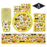 76-Teiliges Emoji Party Set für Kindergeburtstag Partydekoration, 15 Gäste - Pappteller,...