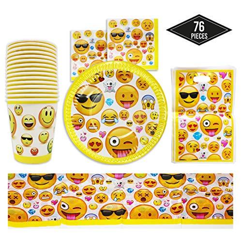 76-Teiliges Emoji Party Set für Kindergeburtstag Partydekoration, 15 Gäste - Pappteller, Becher/Tassen, Servietten, Partytüten & Tischdecken – Smiley, Emoticon Partygeschirr Partyset für Kinder