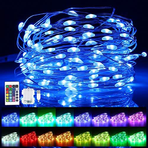 Guirnalda Luces Pilas, 10M 100 LED Guirnalda Luces USB Multicolor con Control Remoto y Temporizador, 16 Colores 4 Modos Luces de Hadas USB Impermeable IP65 para Navidad, Fiestas, Bodas Jardin, Balcón