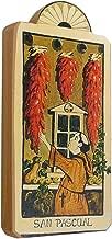 Modern Artisans San Pasqual Patron Saint of Kitchens Handmade Retablo Plaque, 3.5 x 7.25 Inches