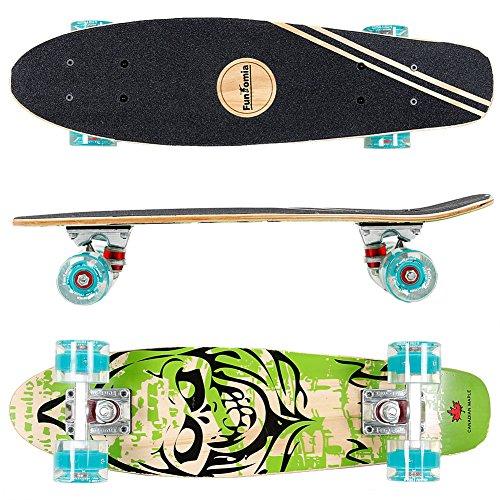 FunTomia Mini-Board Cruiser Skateboard 57cm aus 7-lagigem kanadischem Ahornholz inkl. Mach1 ABEC-9 Kugellager