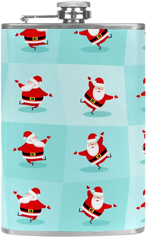 Petaca para licor con embudo para camping, pesca, barbacoa, fiesta de Navidad, bar, bebederos, botella de vino de bolsillo, Navidad, Papá Noel bailando