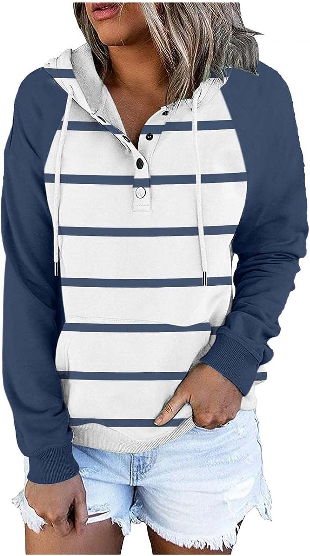 PHSHY Striped Austin Mall Sweatshirt Women's Hoodies Block Color Special sale item Patchwork C