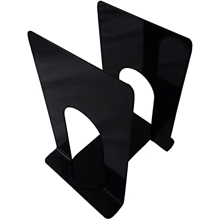 APPUCOCO MS Metal Bookend for Office - 2 Per Pack (Black)