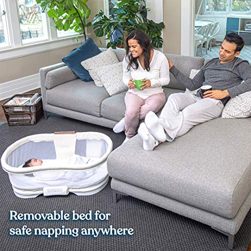 HALO BassiNest Swivel Sleeper, Bedside Bassinet, Removable Bed, Soothing Center with Nightlight, Vibration and Sound, Luxe Plus Series, Ivory Linen