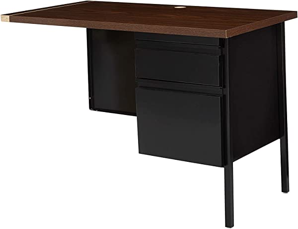 Deluxe Premium Collection Single Left Pedestal Desk 42 By 24 By 29 1 2 Inch Black Walnut Decor Comfy Living Furniture