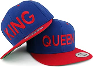 Trendy Apparel Shop King and Queen Two Tone Embroidered Flat Bill Snapback Cap - 2pc Set