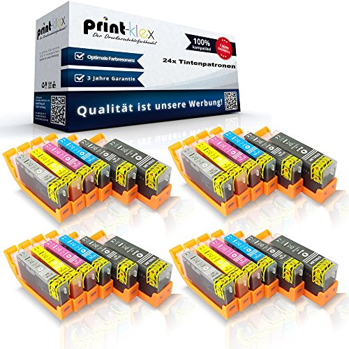 24 x compatibele XXL inktpatronen voor Canon PGI570PGBK CLI571BK CLI571C CLI571M CLI571Y CLI571GY gepigmenteerd zwart blauw rood geel grijs - Print Pro Serie